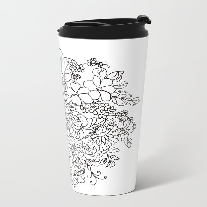 decorative bouquet of flowers and leaves Metal Travel Mug