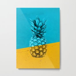 Pineapple Retro Metal Print