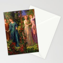 Rose Garden Tapestry Gather Ye Rosebuds While Ye May by Thomas Edwin Mostyn Stationery Cards