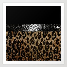 ANIMAL PRINT BLACK AND BROWN Art Print