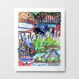 Memphis Watercolor Metal Print