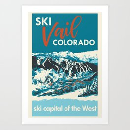 Ski Vail Colorado, vintage poster Art Print