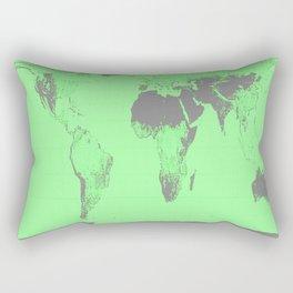 World Map : Gall Peters Seafoam Green Rectangular Pillow