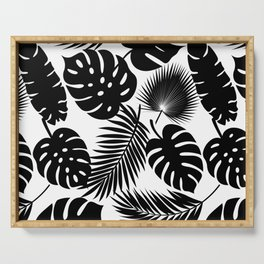 Tropical Leaves - Black on White Serving Tray