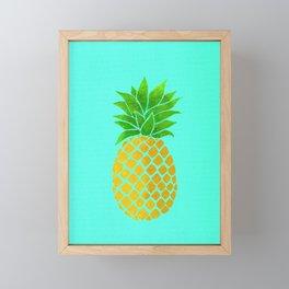Pineapple on Teal Framed Mini Art Print