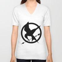 mockingjay V-neck T-shirts featuring Mockingjay by Jessica Wray