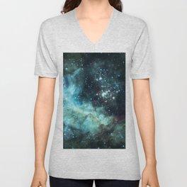 Teal Green Galaxy : Celestial Fireworks Unisex V-Neck