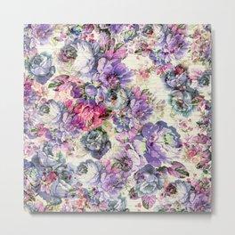 Vintage bohemian rustic pink lavender floral Metal Print