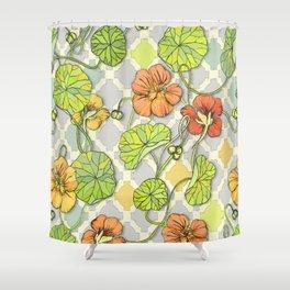 Climbing Nasturtiums in Lemon, Lime and Tangerine Shower Curtain