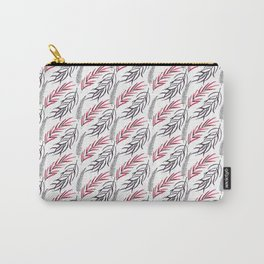 Abstract hand painted pink black tropical fern leaves Carry-All Pouch
