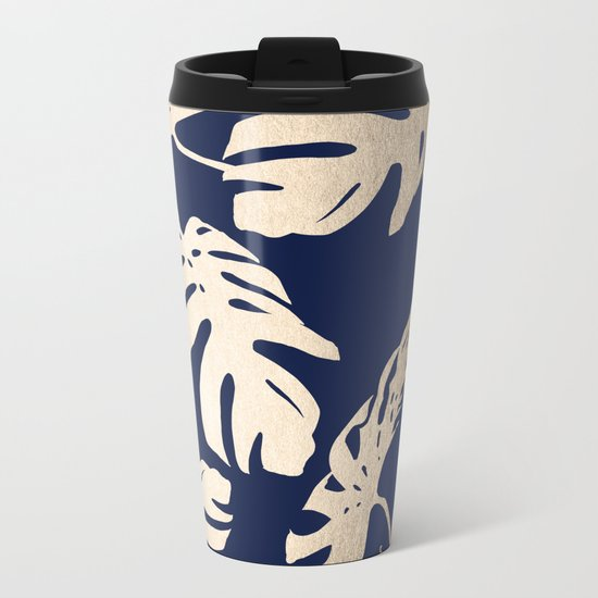 Simply Palm Leaves in White Gold Sands on Nautical Navy Metal Travel Mug
