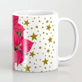 Red Christmas flower and sparkly gold stars Coffee Mug