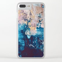 Breathe Again: a vibrant mixed-media piece in blues pinks and gold by Alyssa Hamilton Art Clear iPhone Case
