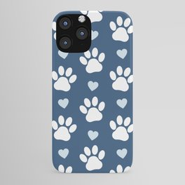 Dog Paws, Traces, Animal Paws, Hearts - Blue White iPhone Case
