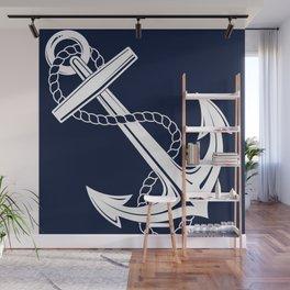 Anchor Navy & White Nautical  Wall Mural