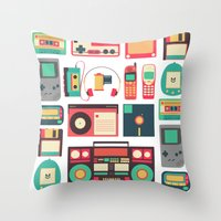 technology Throw Pillows featuring Retro Technology 1.0 by Ralph Cifra