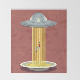 Invasion of spaghetti Throw Blanket