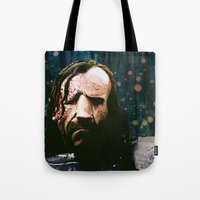 the hound Tote Bags featuring THE HOUND by Chewgowski