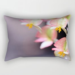 Raindrops on Tiny Begonia Blooms Rectangular Pillow