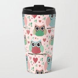Owls in Love Pattern Travel Mug