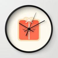 gift card Wall Clocks featuring Gift by kim vervuurt