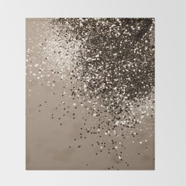Sparkling Sepia Lady Glitter #1 #shiny #decor #art #society6 Throw Blanket