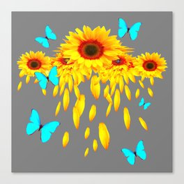 SURREAL BLUE BUTTERFLIES SUNFLOWER PETAL RAIN Canvas Print