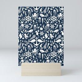 Nautical Silhouettes (White on Navy Blue) Mini Art Print