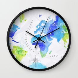 Watercolor world map green Wall Clock