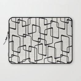 Black Retro Rounded Rectangles Geometric Pattern Laptop Sleeve