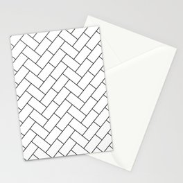 Traditional Herringbone - Black Stationery Cards