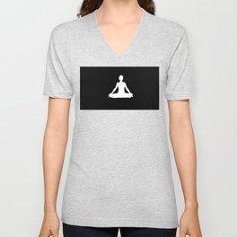 yoga pose chakra black and white silhouette  Unisex V-Neck