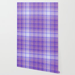 Thin Blue and Purple Speckled Tartan Pattern Wallpaper