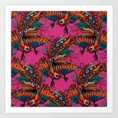 rooster ink pink Art Print