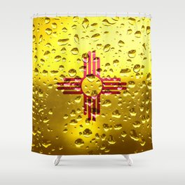 Flag of New Mexico - Raindrops Shower Curtain