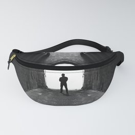 Narrow street gang with scary man silhouette Fanny Pack