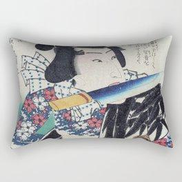 Kunichika Tattooed Warrior with Sayagata Pattern Background Rectangular Pillow