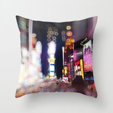 Times Square Blurrr-Bokeh Throw Pillow
