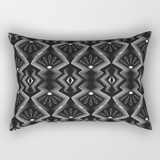"Art Deco . Black and white pattern .""Constance "". Rectangular Pillow"