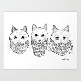 Cats With Beards Art Print