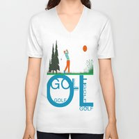 golf V-neck T-shirts featuring Golf, golf, golf! by South43