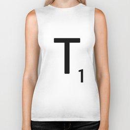Letter T - Custom Scrabble Letter Tile Art - Scrabble T Initial Biker Tank