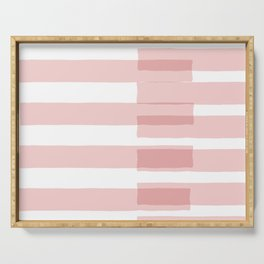 Big Stripes in Pink Serving Tray