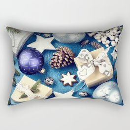 Christmas New Year gifts Christmas decorations blue Christmas background 2019 cones tree cookies Rectangular Pillow