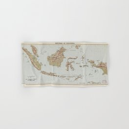 Republic of Indonesia Map (1957) Hand & Bath Towel