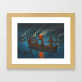 Beautiful Vintage Japanese Woodblock Print Japanese Fisherman Flame Torch Framed Art Print