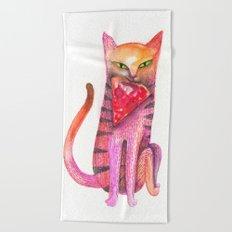 pet cat with precious prey Beach Towel