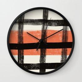 Black and Orange Plaid Abstract Art Wall Clock