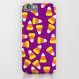 Candy Corn Jumble (purple background) iPhone Case