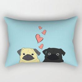 Pugs In Love Blue Rectangular Pillow